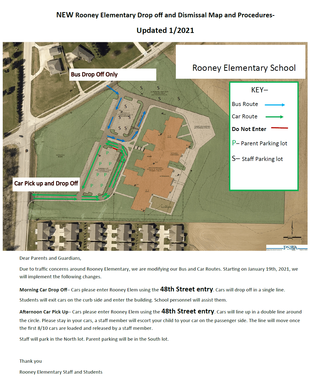This image is an aerial view of Rooney Elementary School and adjacent roads.  The map shows entry and exit for both school parking lots.
