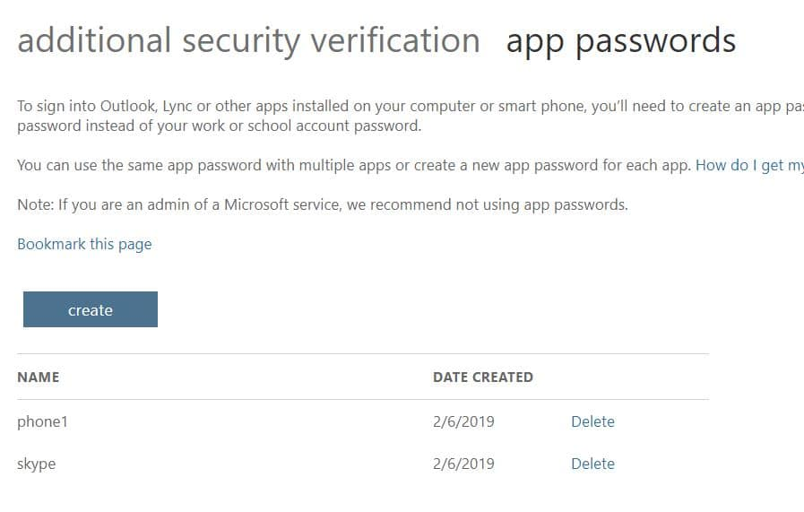 app password page