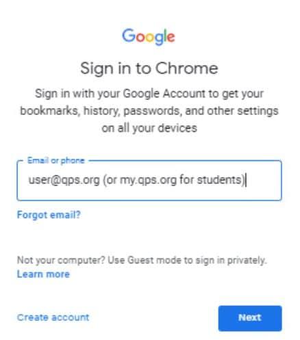 chrome username login window