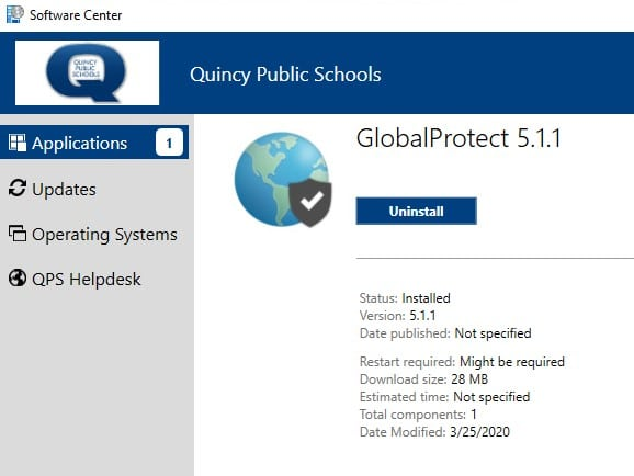 software center globalprotect install success screen
