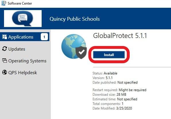 software center globalprotect install screen