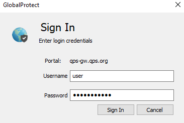 screenshot GlobalProtect authentication screen