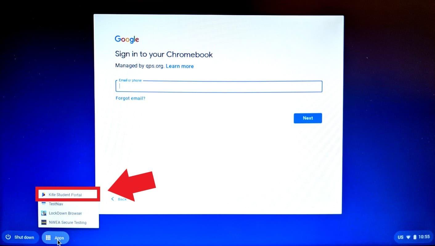 chromebook login screen