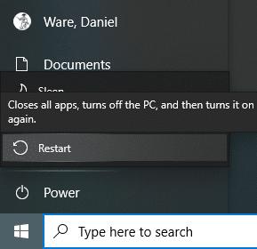 screenshot restart button