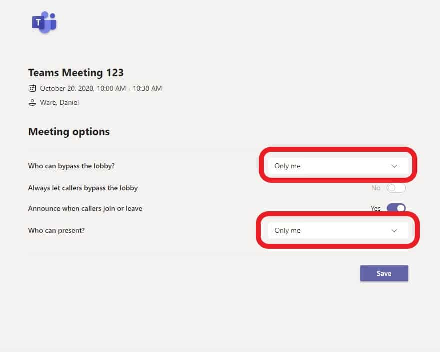 teams meeting options page